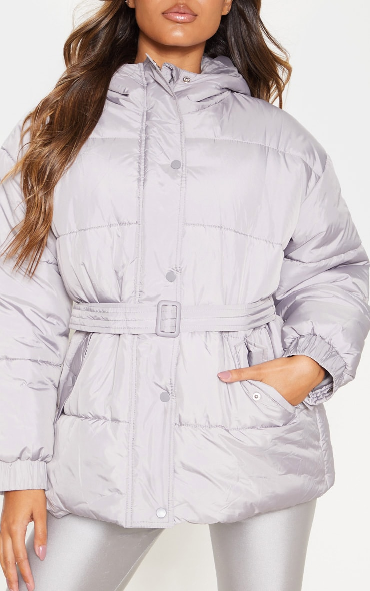 Ice Grey Belted Puffer 5