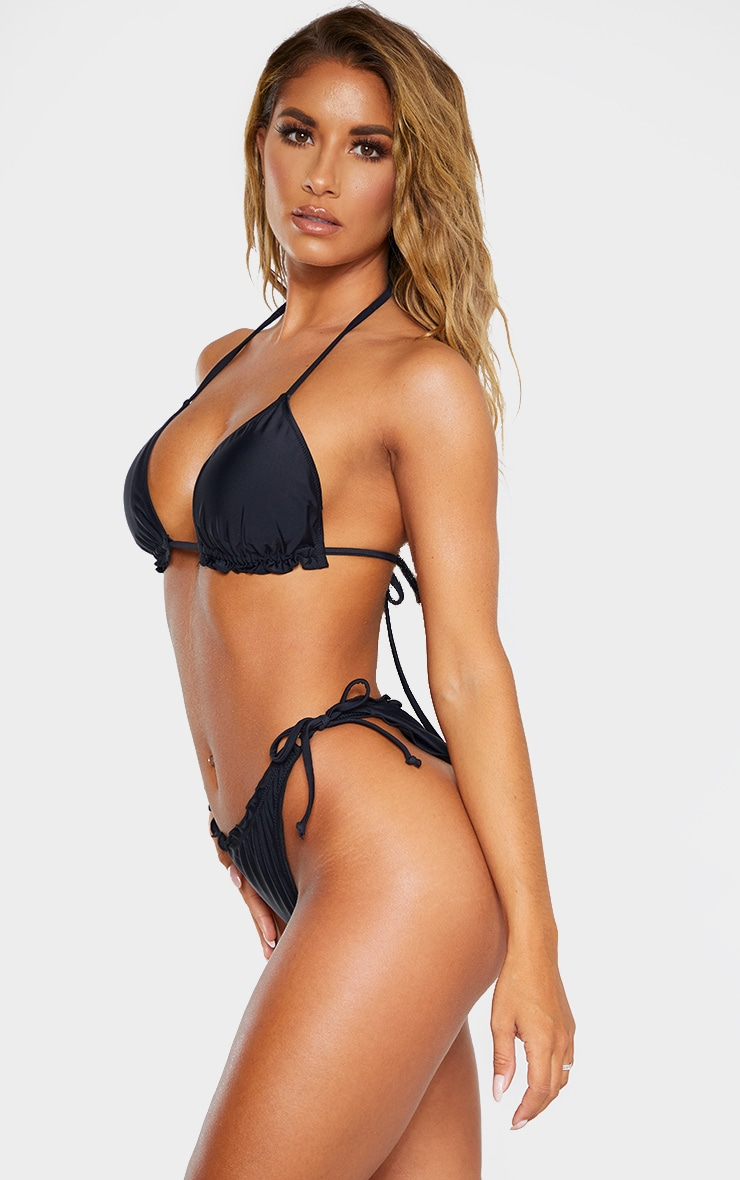Black Frill Edge Ruched Back Bikini Bottom 2