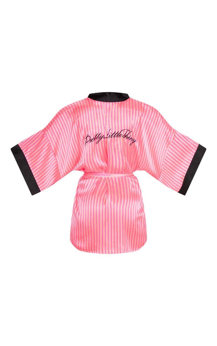 PRETTYLITTLETHING Pink Striped Satin Robe 4
