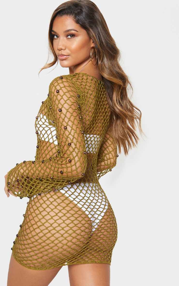 Khaki Beaded Crochet Long Sleeve Knit Dress 2