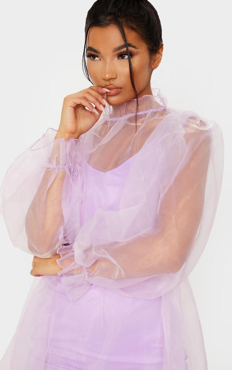 Lilac Organza Puff Sleeve Smock Dress 4