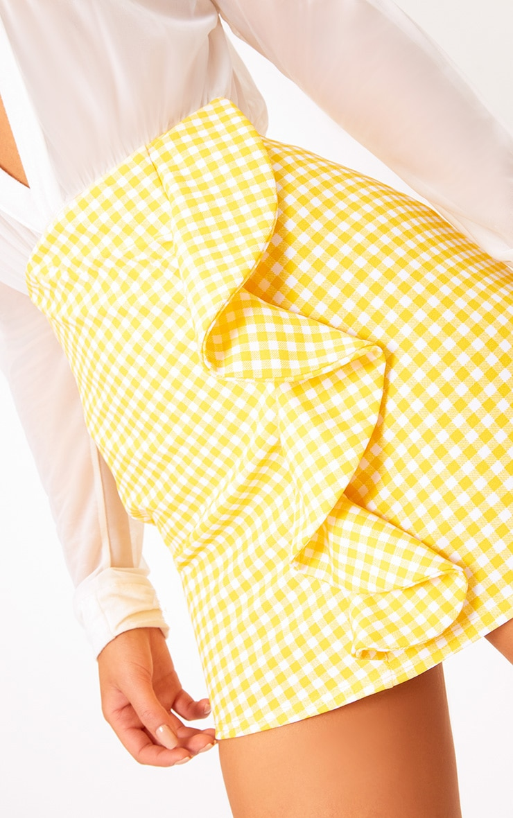 Yellow Gingham Ruffle Mini Skirt 6