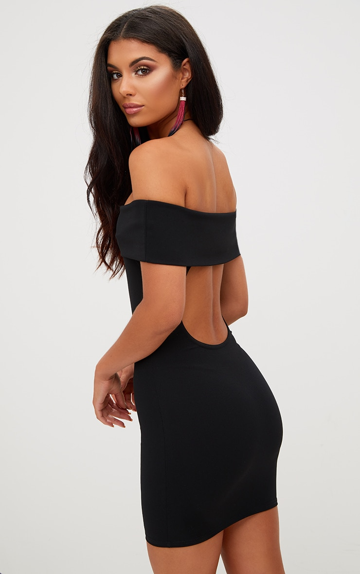 Black Open Back Bardot Bodycon Dress 1