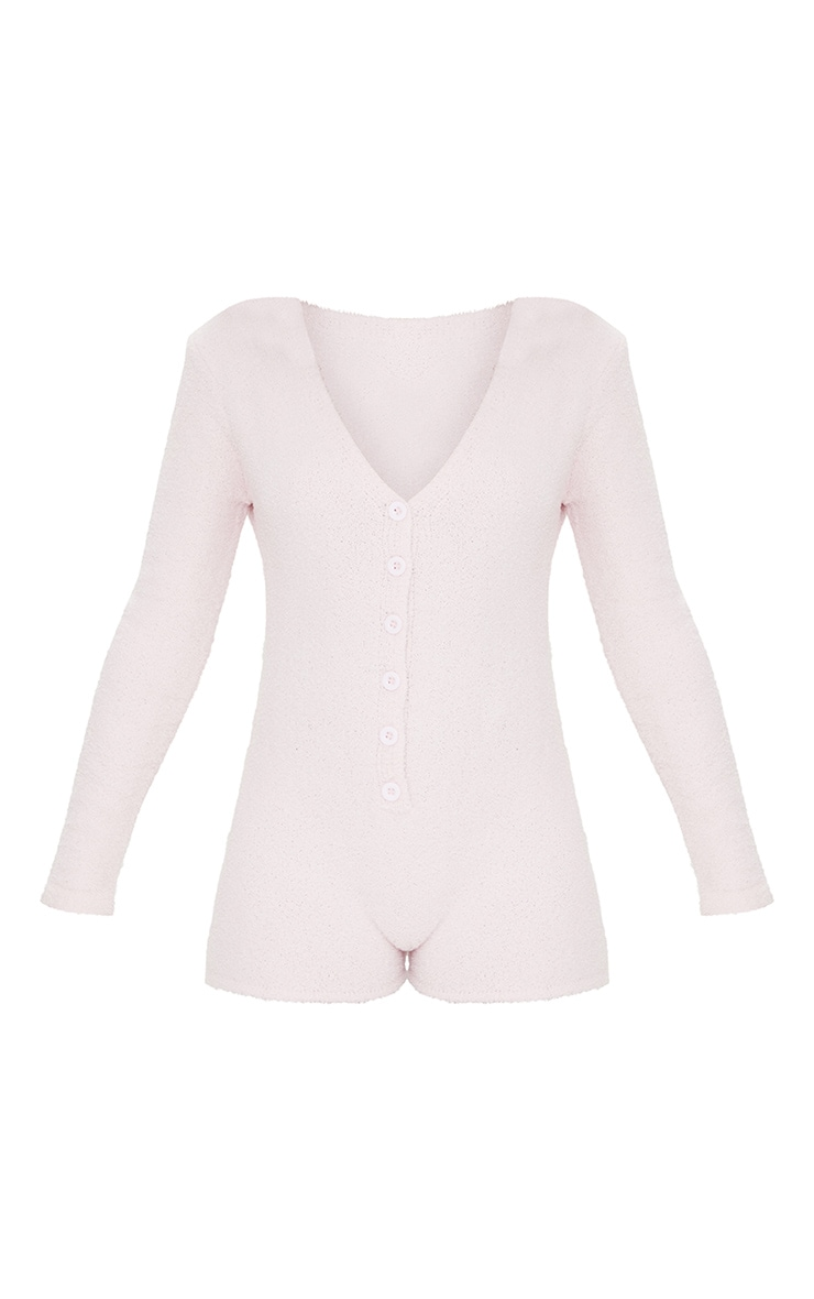 Pale Pink Chenille Long Sleeve Romper 5