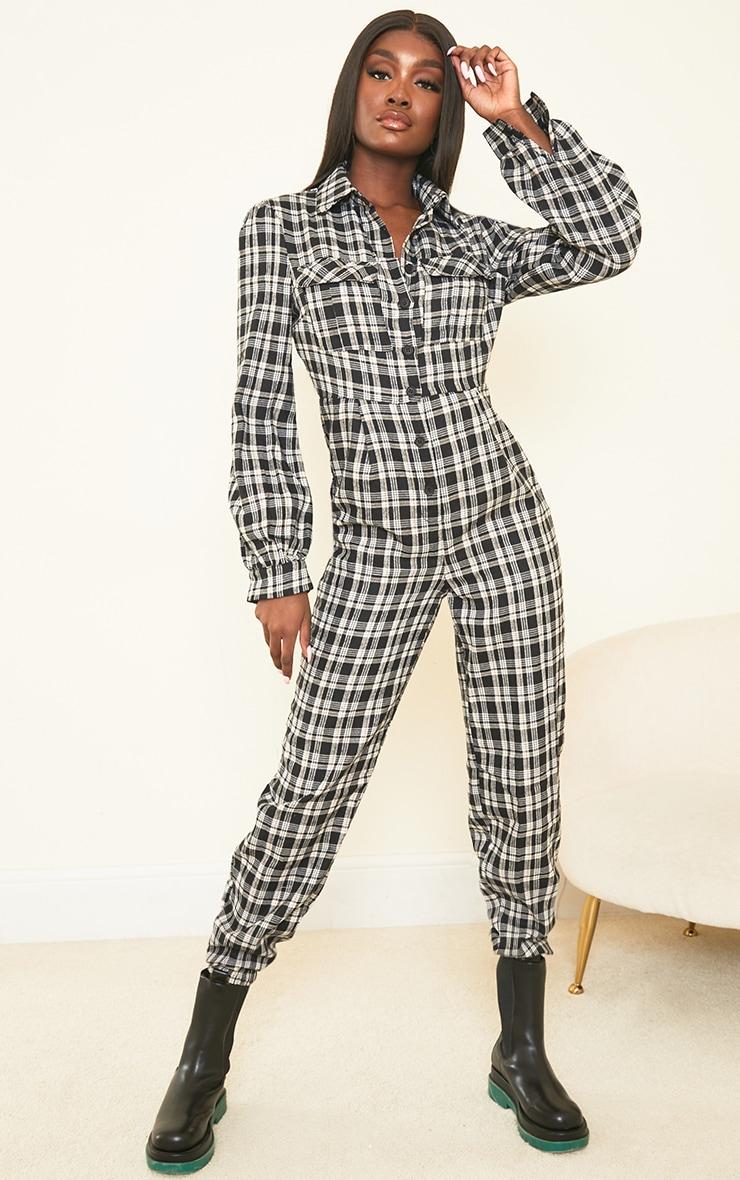 Tall Black Check Pocket Detail Shirt Jumpsuit 1