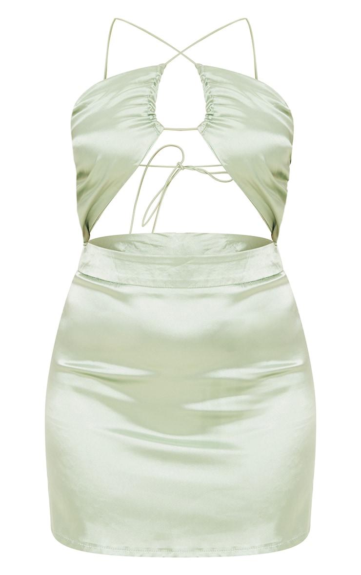 Petite Sage Green Cut Out Strappy Satin Bodycon Dress 5