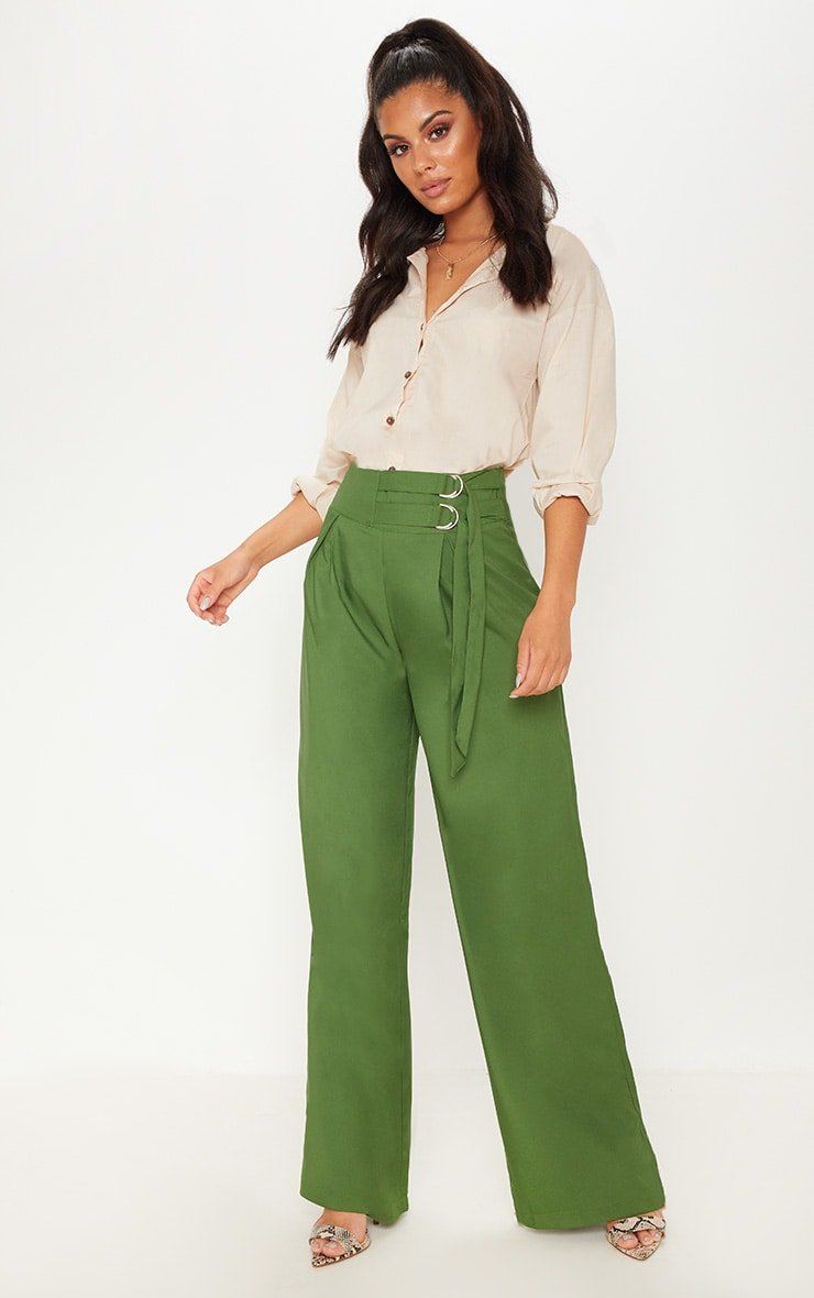 Khaki D Ring Buckle Wide Leg Trouser