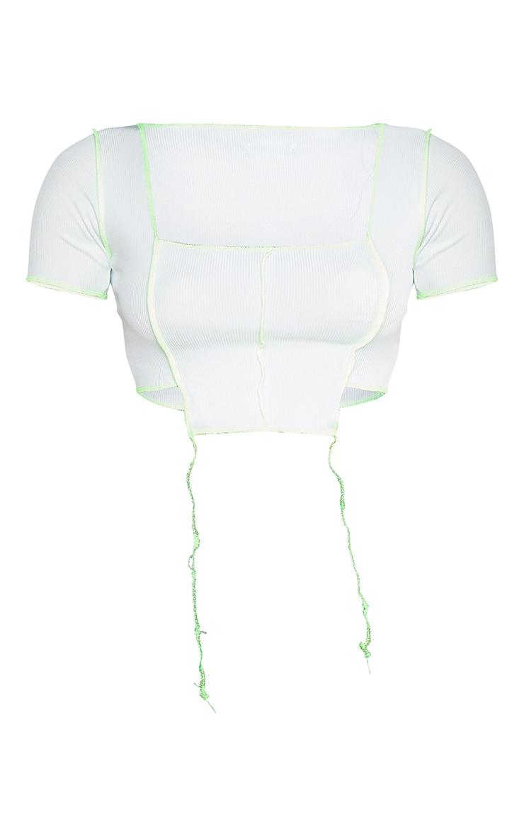 White Rib Overlocked Short Sleeve Crop Top 4