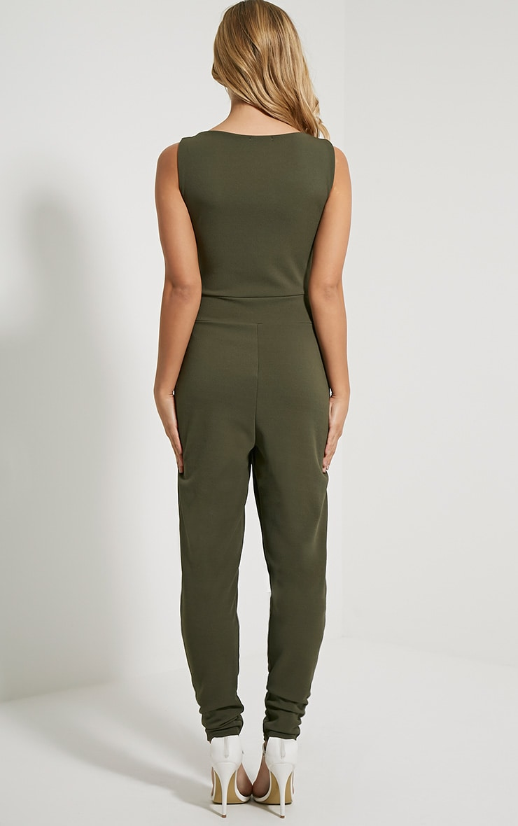 Remi Khaki Lace Up Crepe Jumpsuit 2