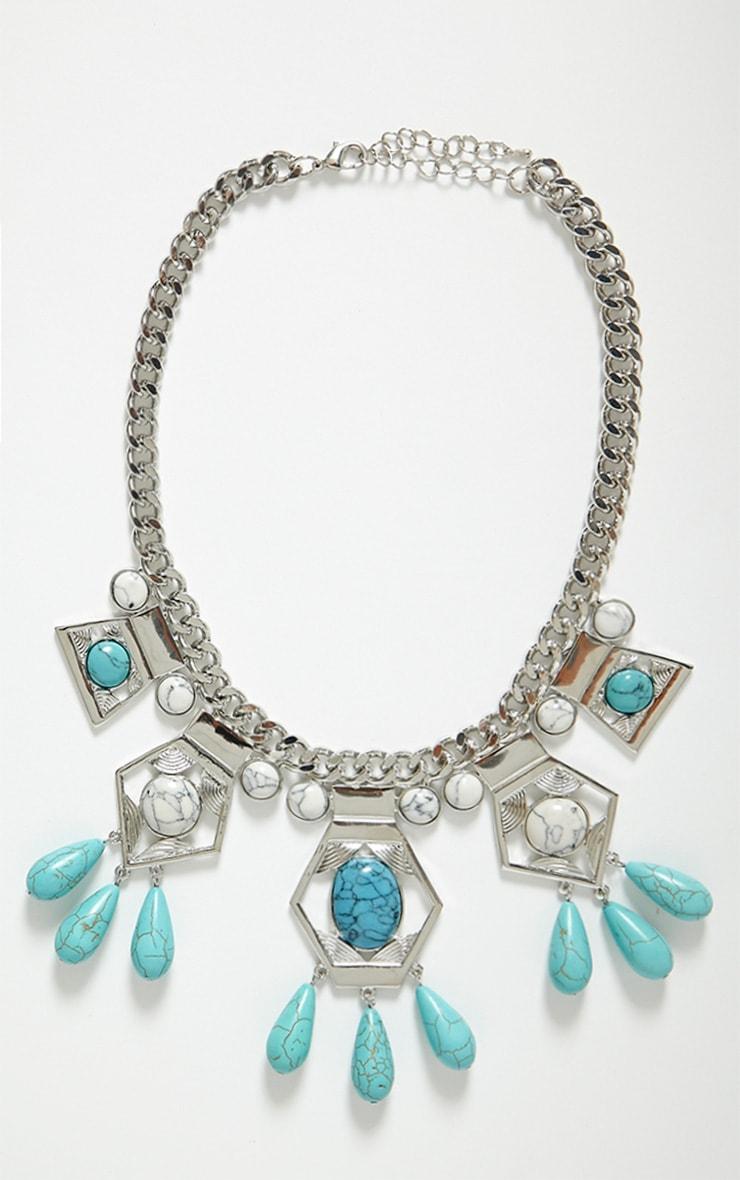 Mitzi Aqua Stone Collar Necklace 3