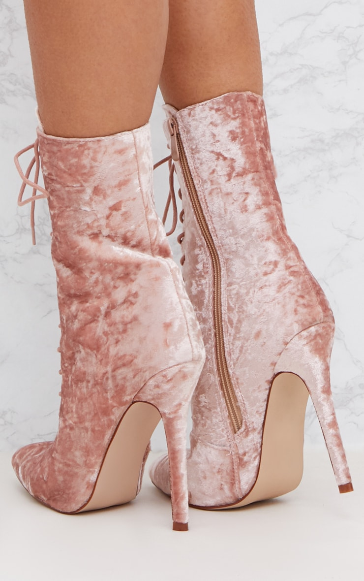 Pink Crushed Velvet Lace Up Heeled Boots 4