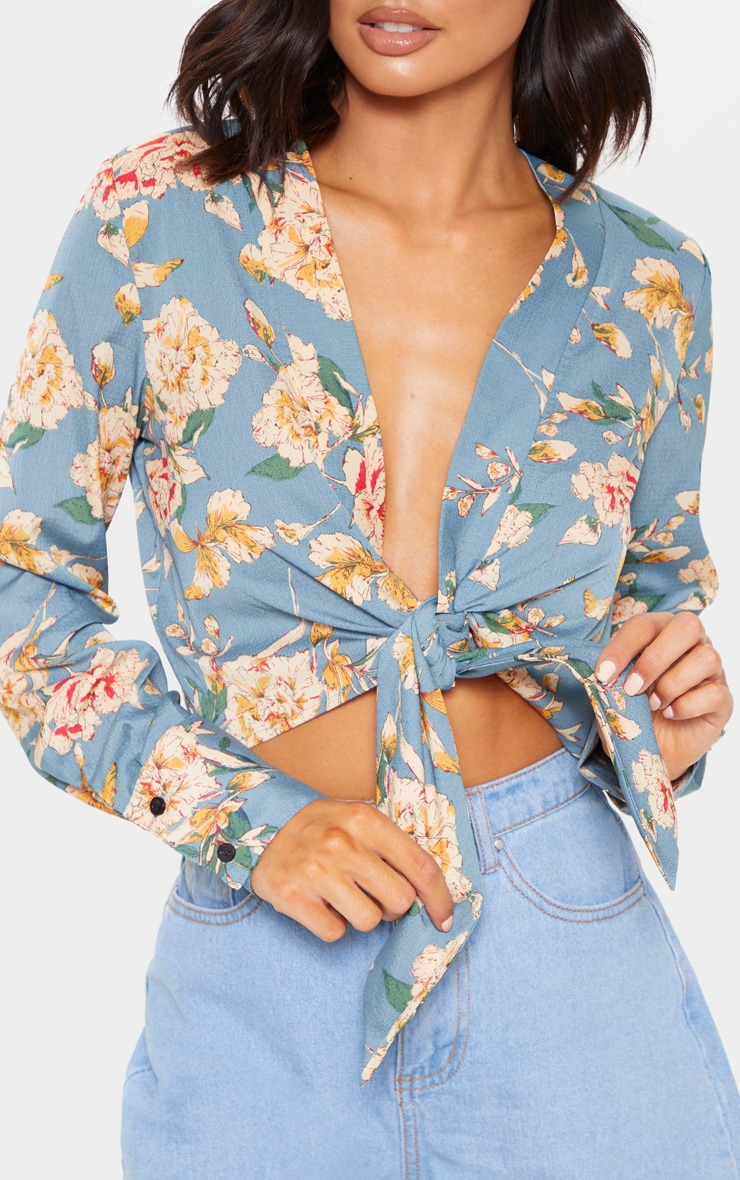 Teal Floral Tie Front Cropped Blouse 5