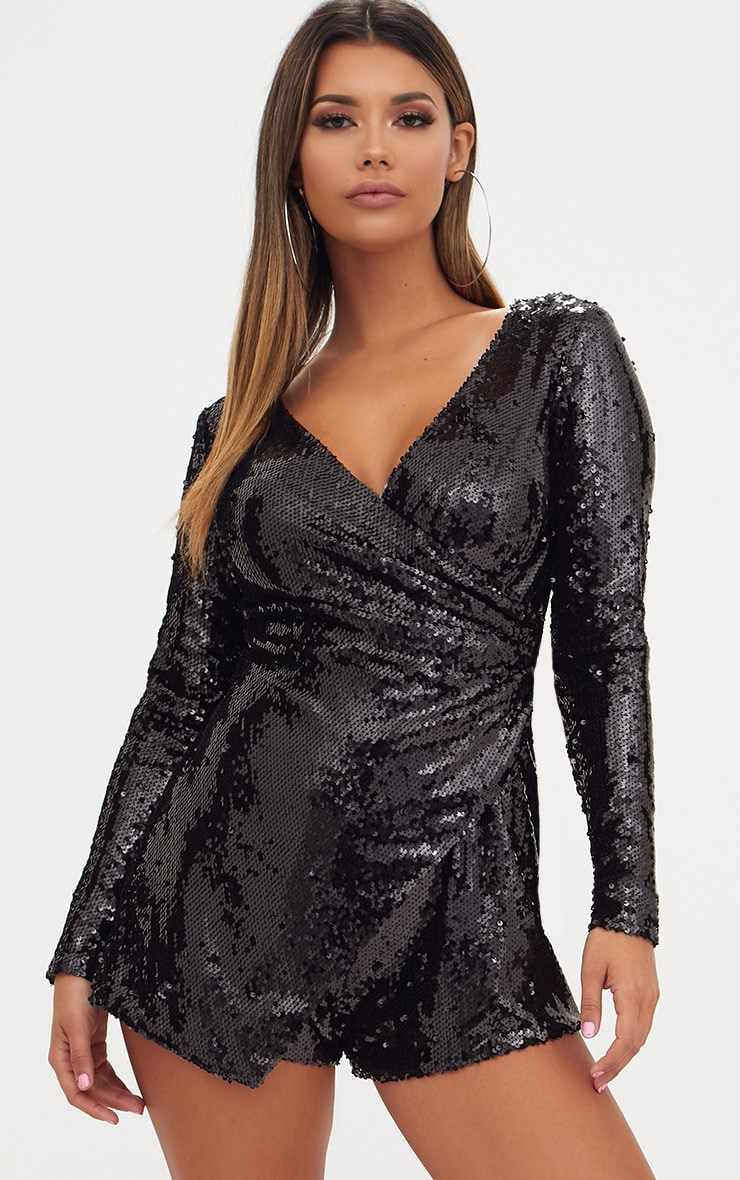 Black Sequin Long Sleeve Wrap Playsuit