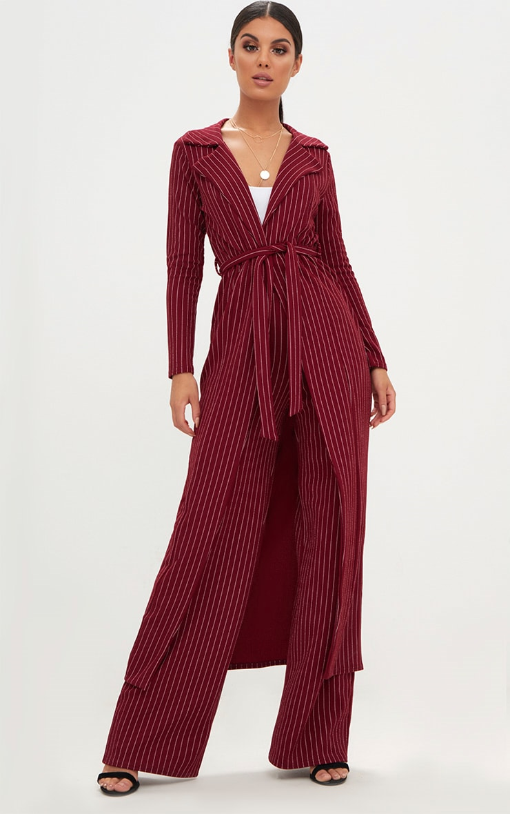 Burgundy Pinstripe Duster Jacket  1