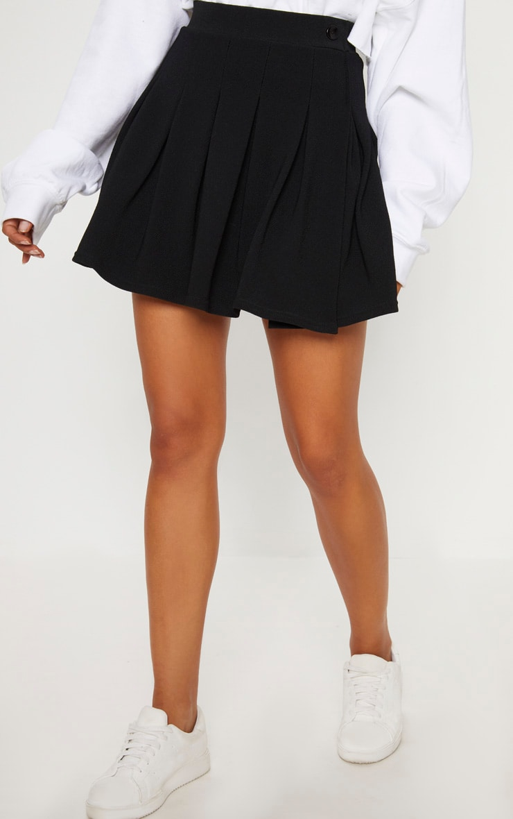 Black Pleated Side Split Tennis Skirt 2