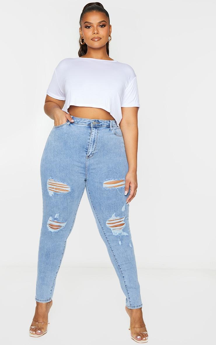 PRETTYLITTLETHING Plus Vintage Wash Distressed 5 Pocket Skinny Jeans