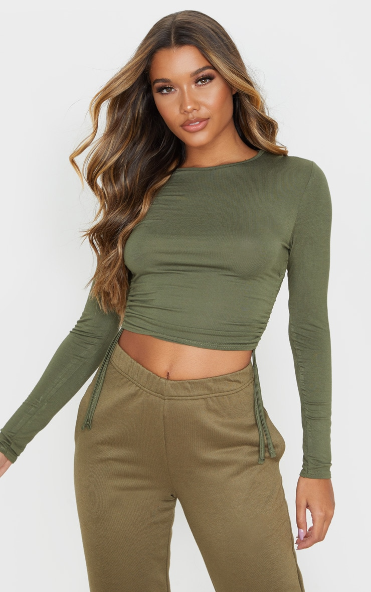 Sage Khaki Jersey Ruched Side Long Sleeve Top 1