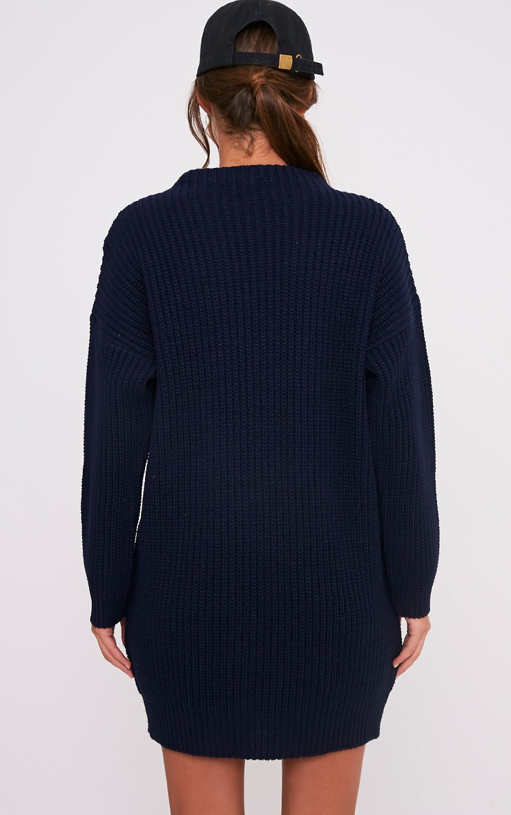 Iffy Navy Oversized Cable Knit Dress 1
