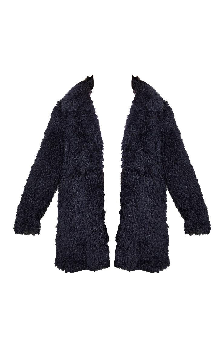 Black Curly Faux Fur Lapel Coat 5