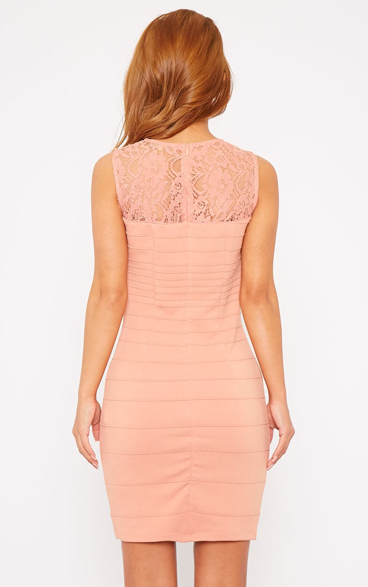 Primrose Peach Lace Top Bandage Dress 2