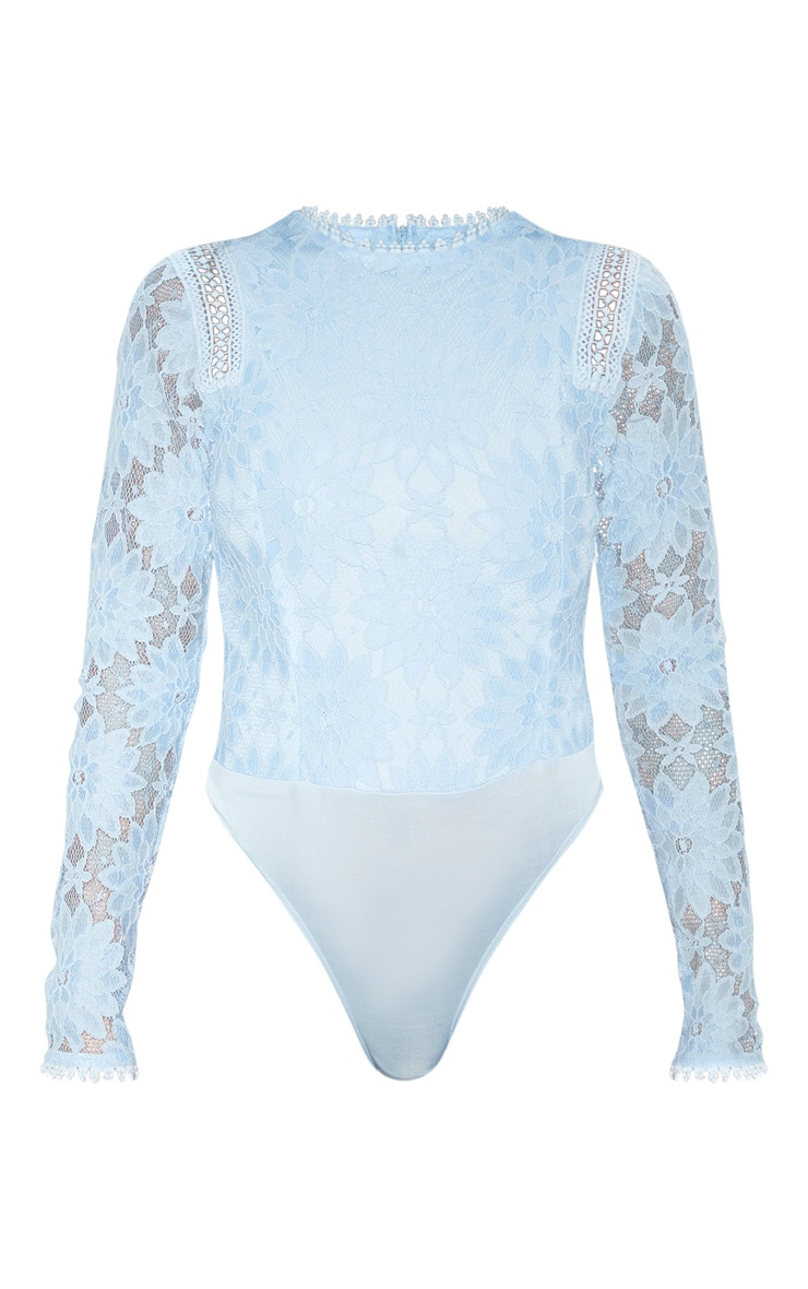Dusty Blue Lace Longsleeve Bodysuit 3