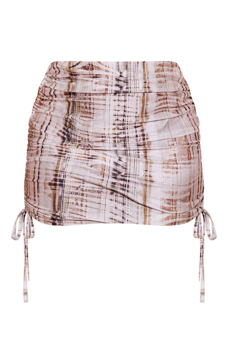 Plus Beige Textured Print Ruched Side Skirt 6