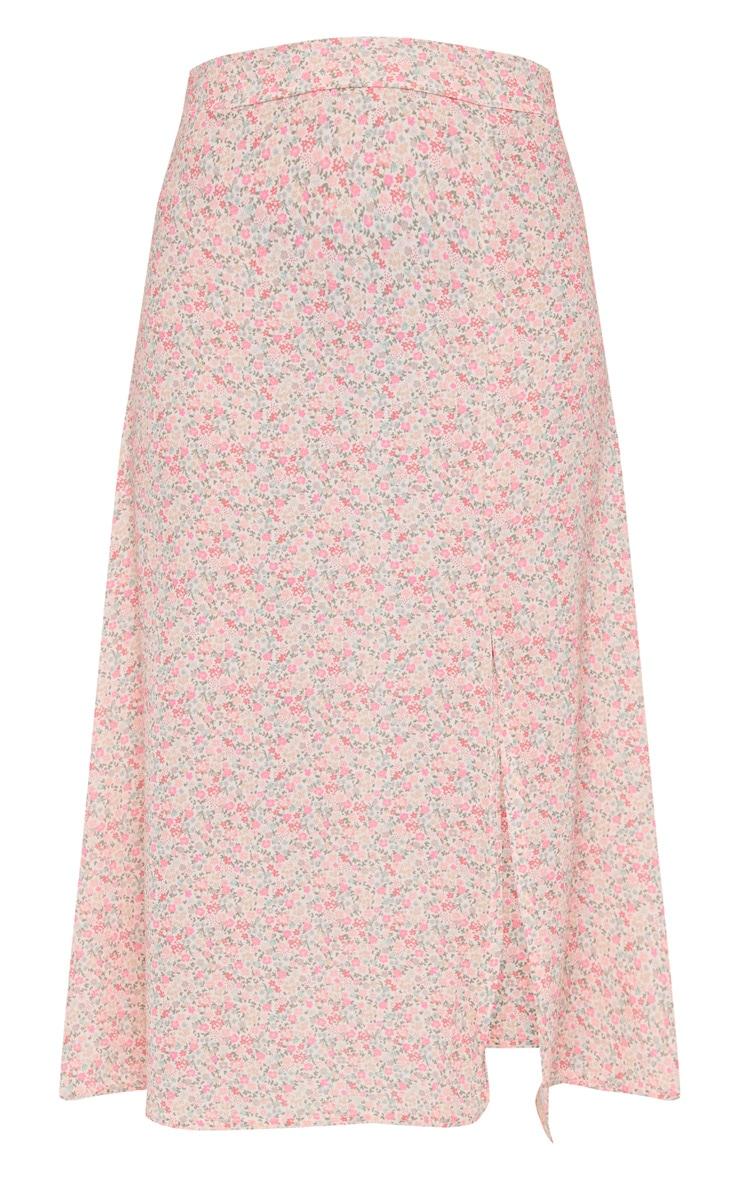 Pink Ditsy Floral Print Floaty Midi Skirt 5