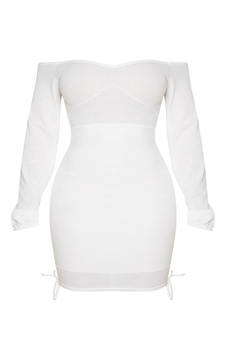 Shape Cream Rib Bardot Cup Detail Ruching Side Bodycon Dress 3