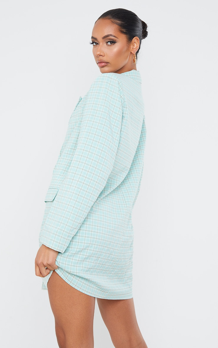 Mint Check Print Double Breasted Oversized Blazer Dress 2