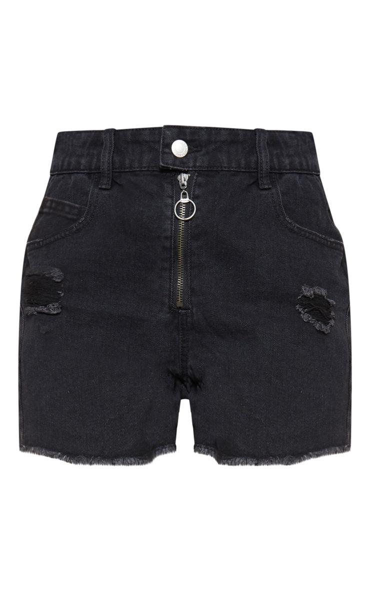 Black Pull Zip Detail Distressed Denim Shorts 3