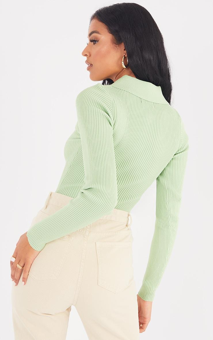 Tall Green Knitted Rib Button Through Polo Bodysuit 2