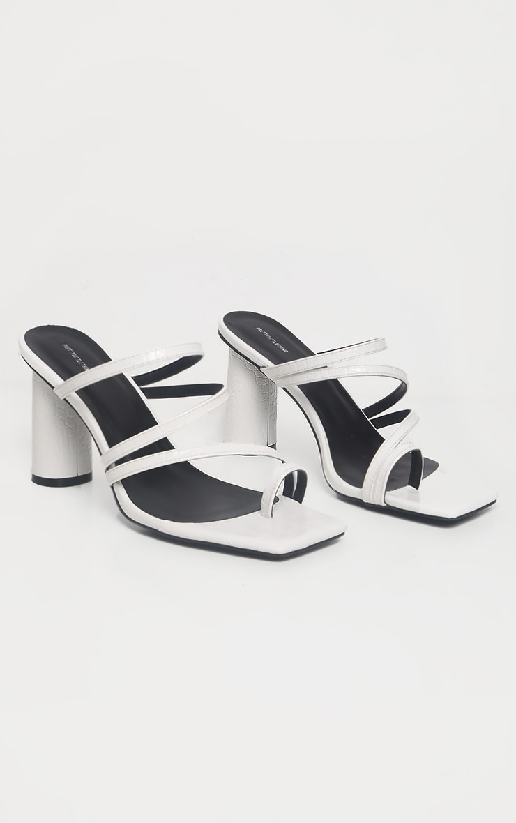 White Round Block Heel Mule Strappy Sandal  3