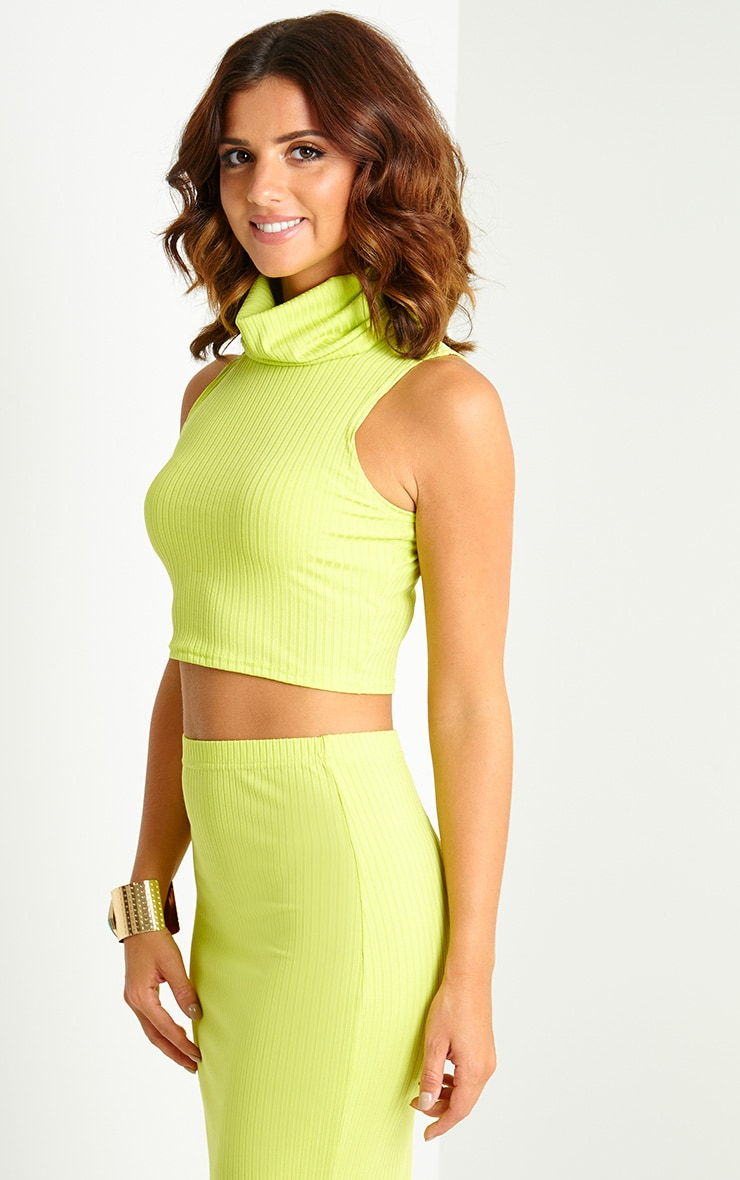 Lacey Lime Ribbed High Neck Crop Top 4