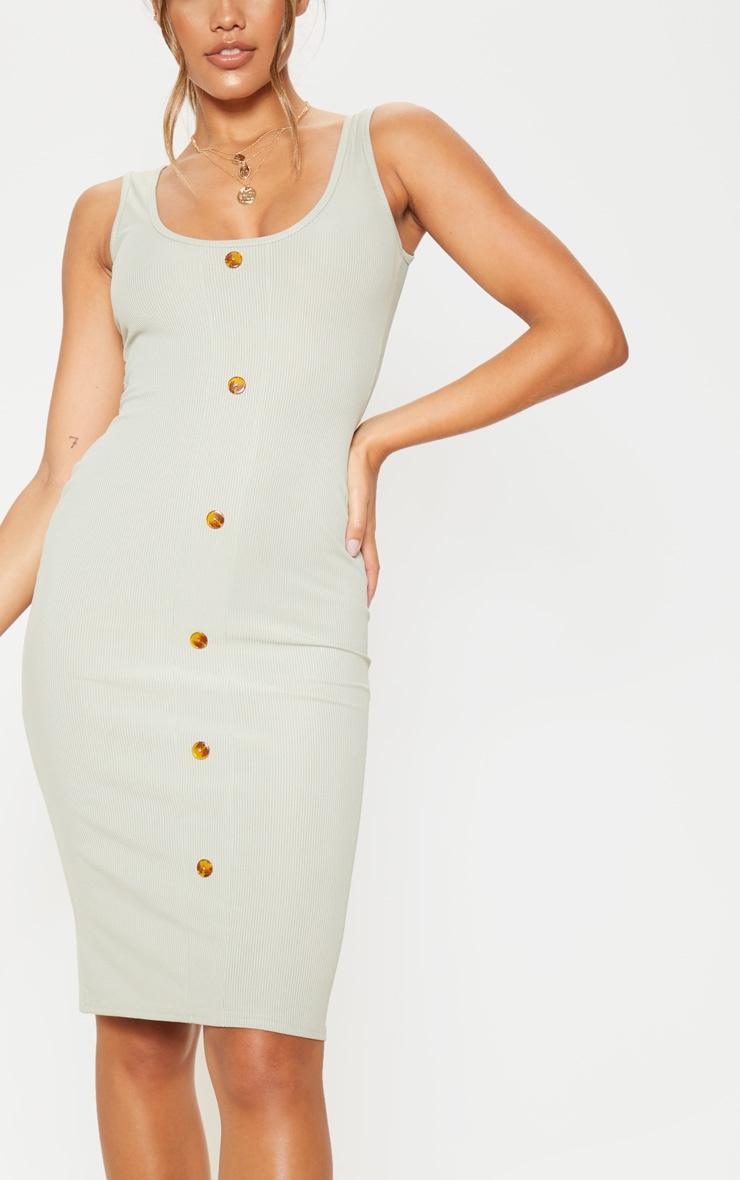 Sage Khaki Ribbed Scoop Tortoise Shell Button Bodycon Dress 5