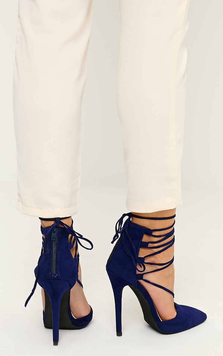 Bali Blue Faux Suede Pointed Strappy Lace Up Heels 3