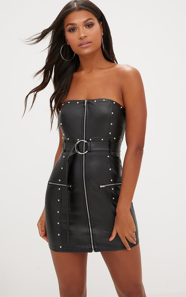 Black PU Stud Detail O Ring Bandeau Bodycon Dress 1