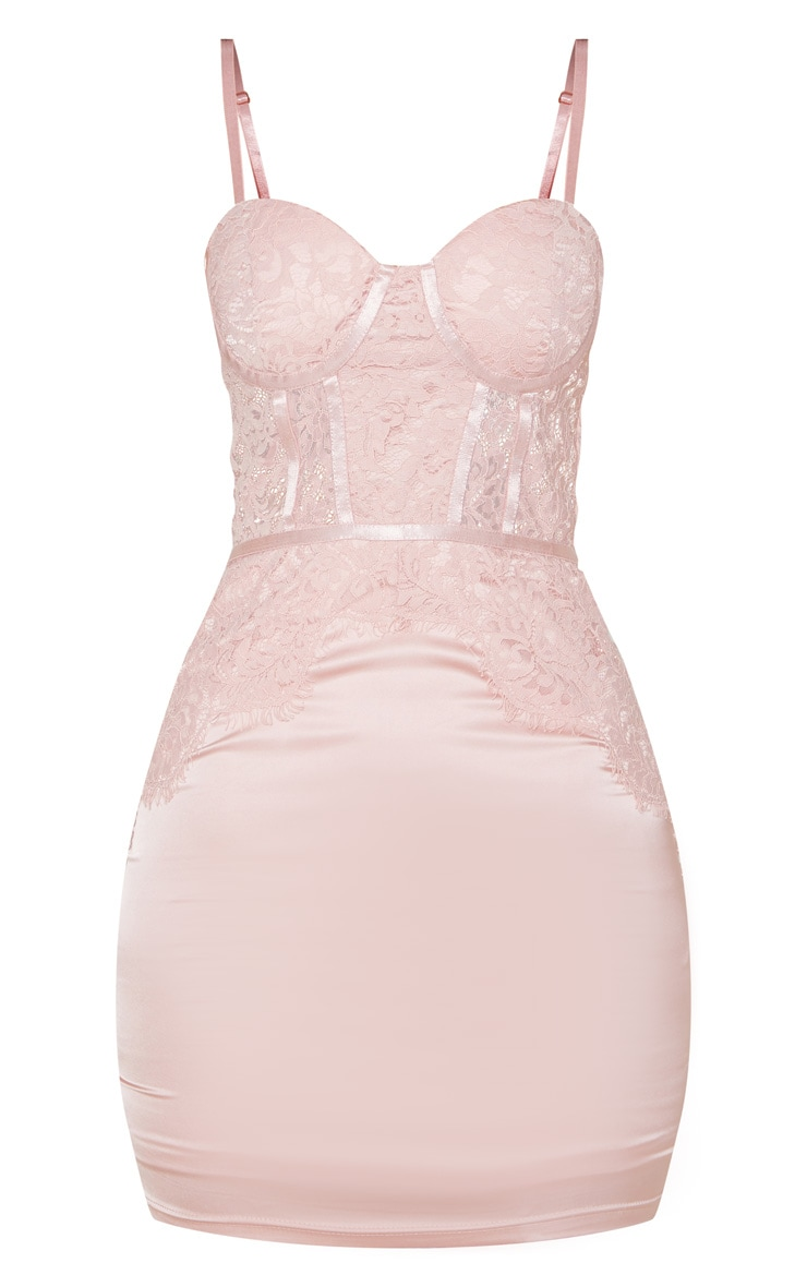Blush Lace Bodice Strappy Cup Detail Bodycon Dress 3