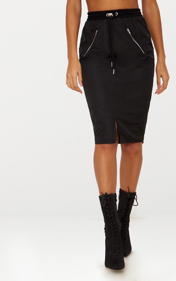 Black Shell Drawstring Midi Skirt  2