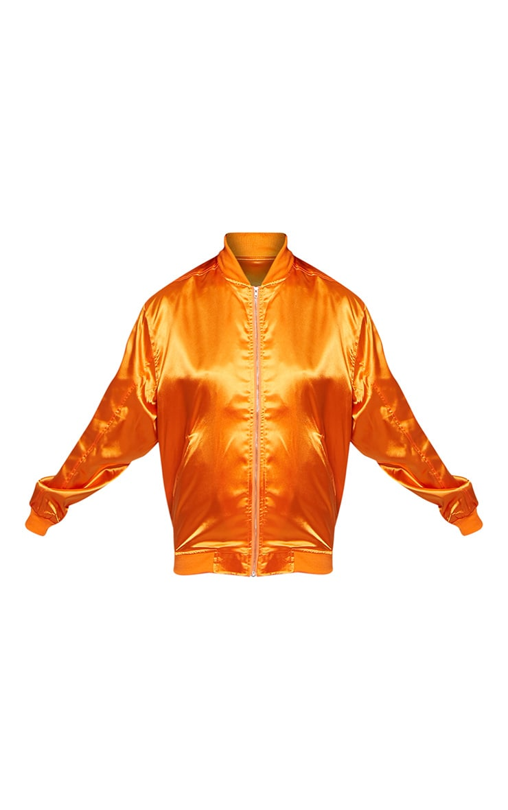 Sheena Orange Satin Bomber Jacket 2