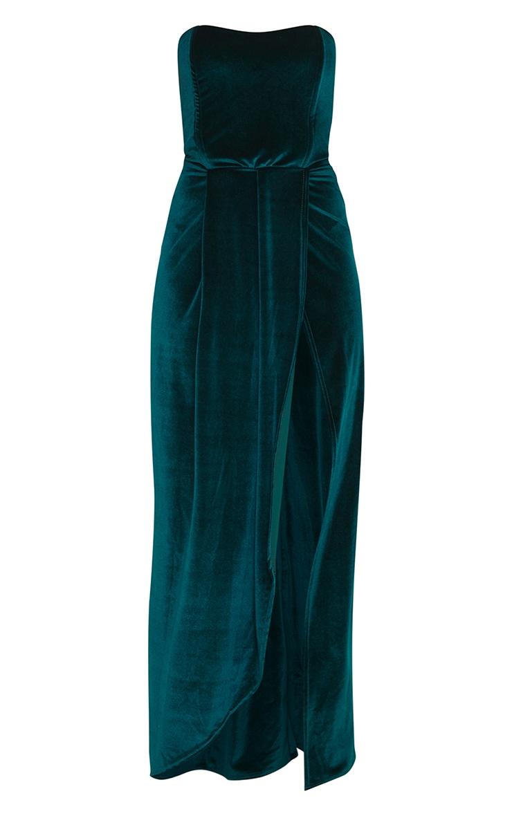 Robe bandeau longue en velours vert émeraude à détail liserés rigides  5