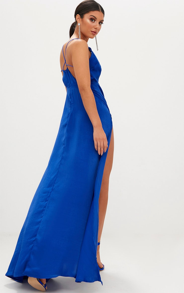 Cobalt Extreme Split Strappy Back Maxi Dress 2