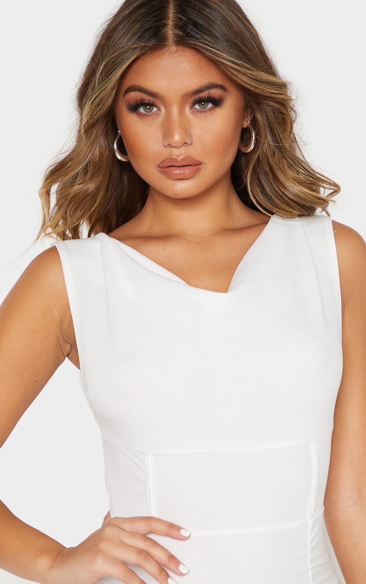 White Ruched Cowl Neck Midi Dress 5