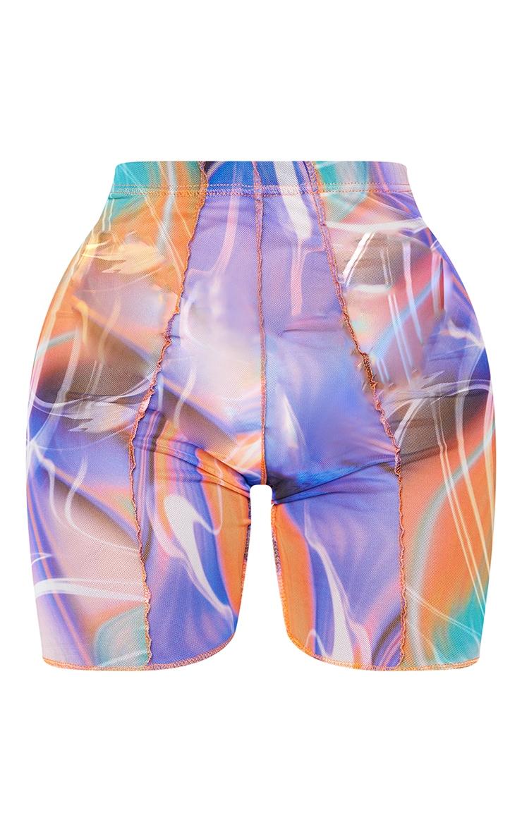 Shape Purple Marble Print Sheer Mesh Overlock Cycling Shorts 6