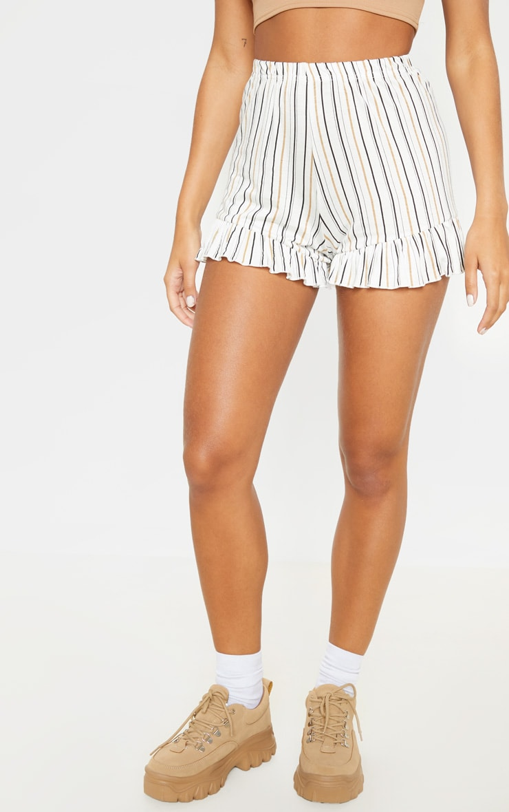 White Stripe Frill Hem Shorts 2