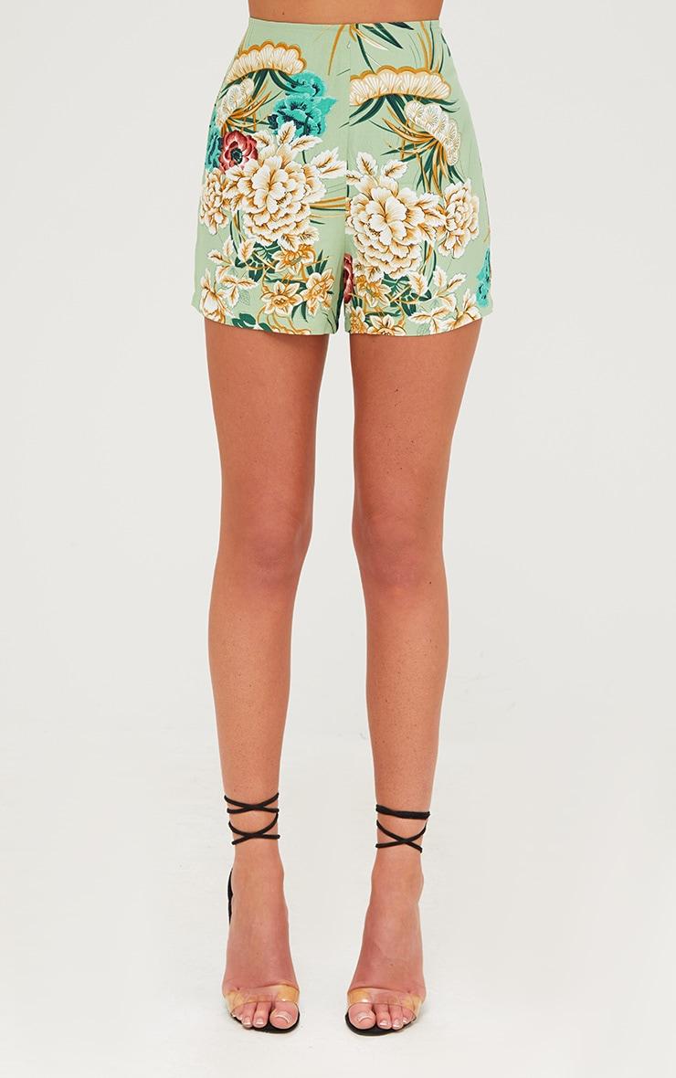 Sage Green Floral Kimono Shorts 2