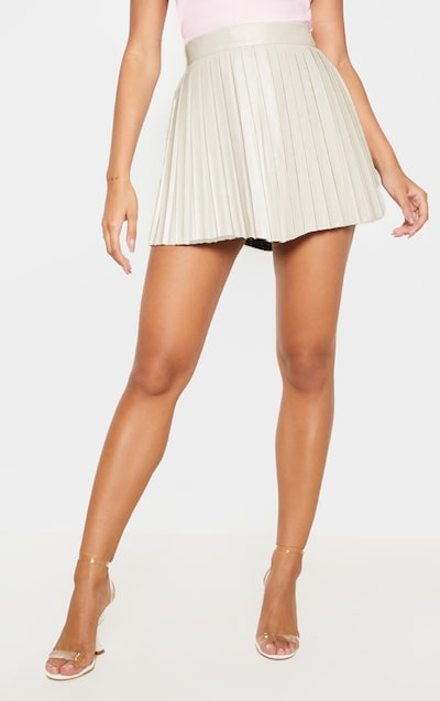 Cream Faux Leather Pleated Skater Skirt