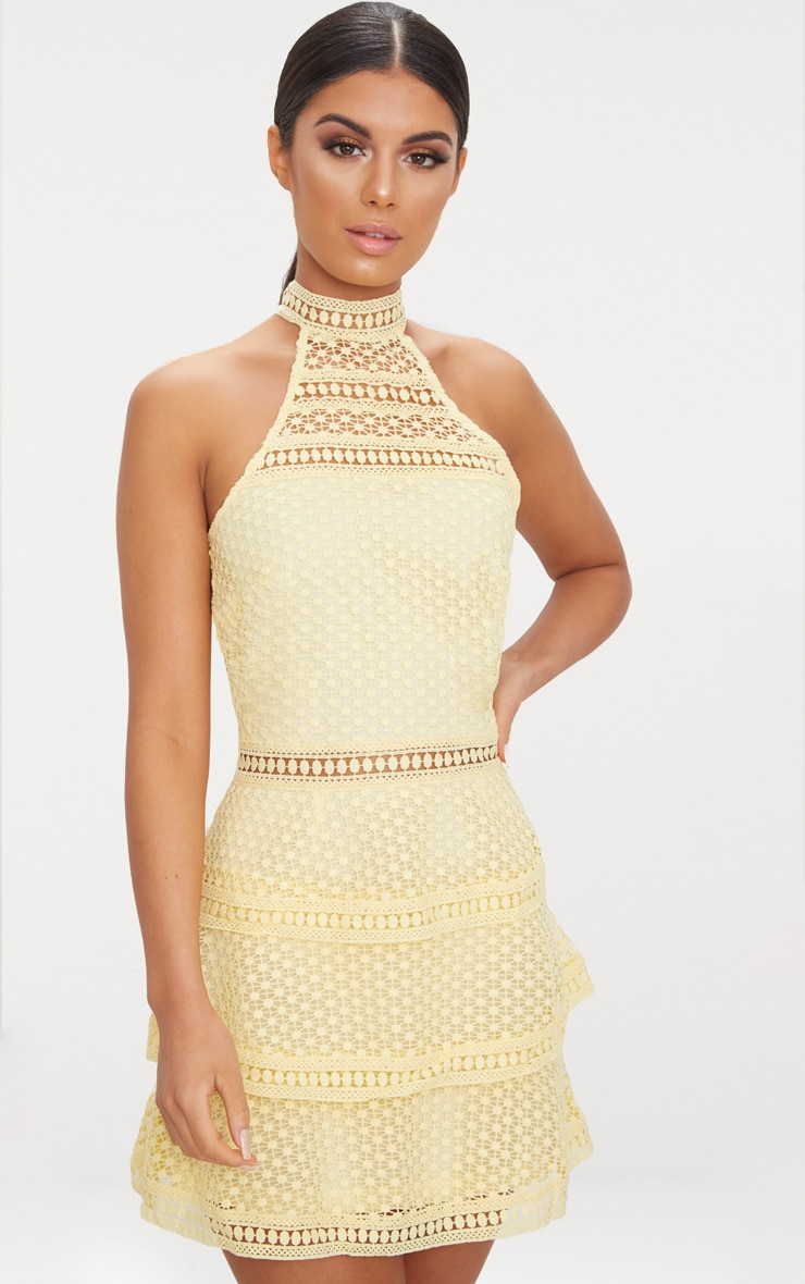 Lemon Lace Panel Tiered Bodycon Dress