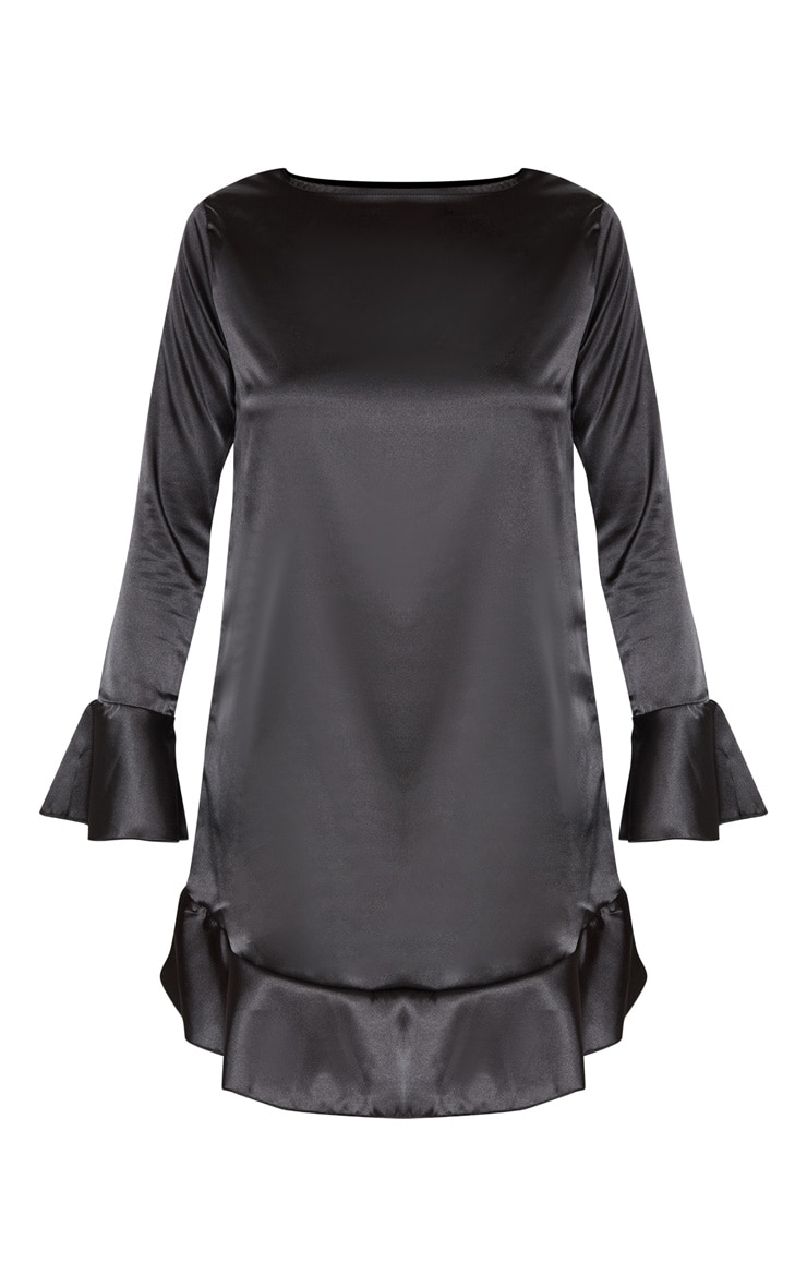 Black Satin Frill Hem Shift Dress 3