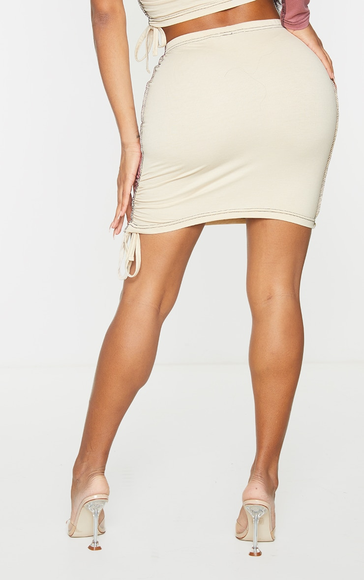 Shape Stone Cotton Panel Detail Ruched Side Bodycon Skirt 3