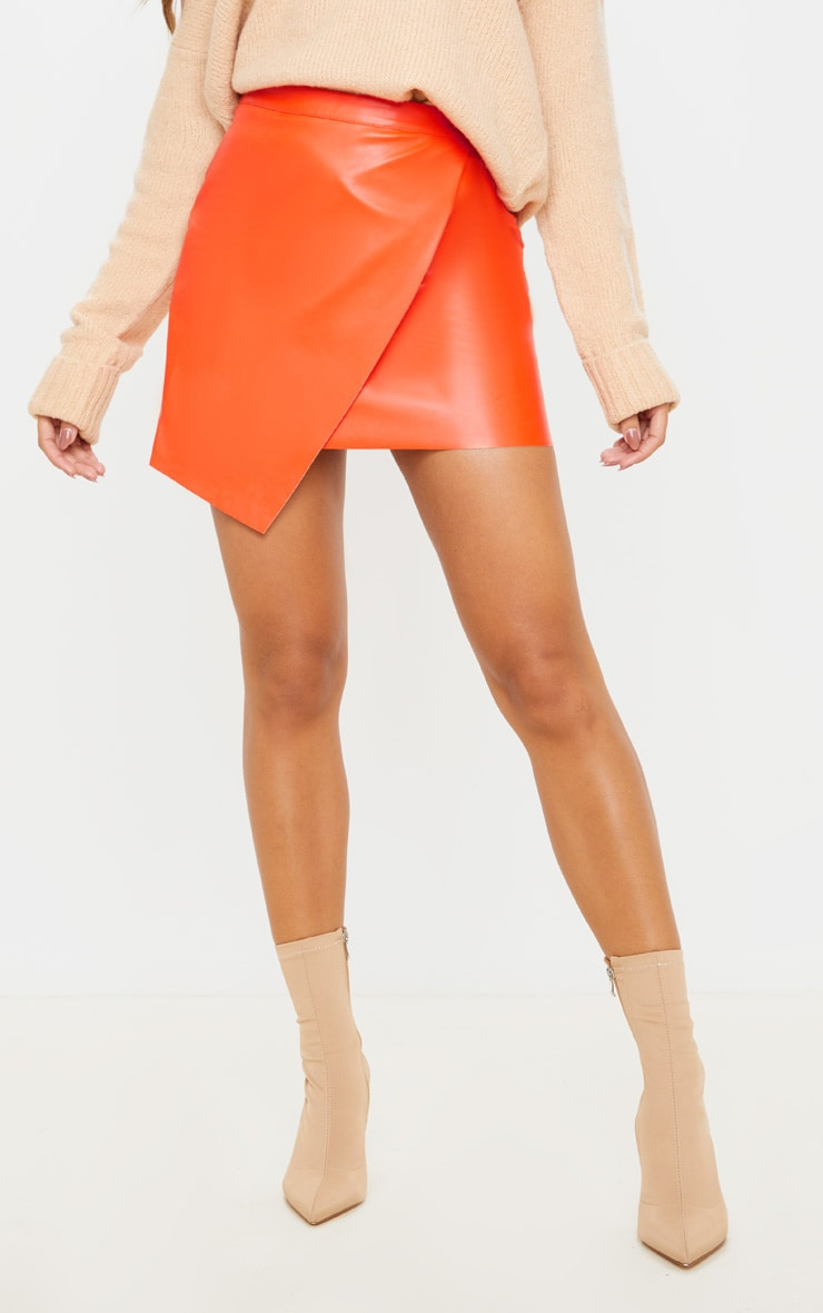 Orange Faux Leather Wrap Mini Skirt 2